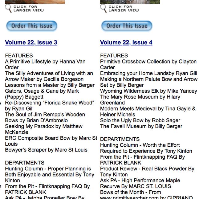 Primitive Archer Magazine Volume 22, Issues 3-4 listing